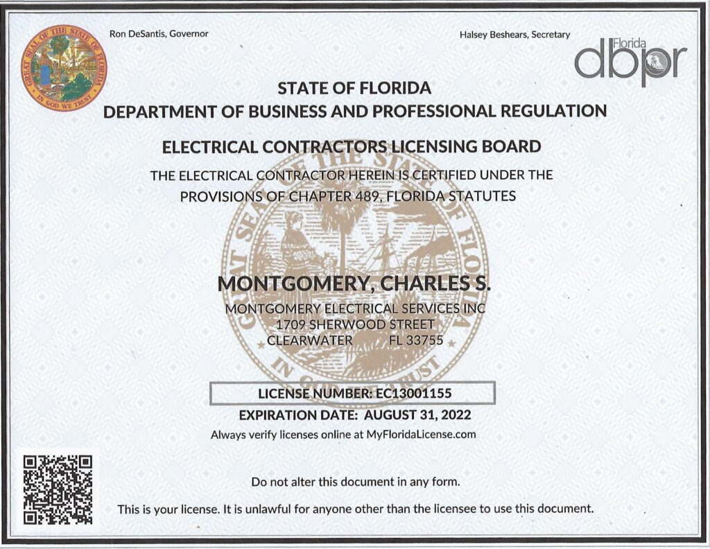 License for electrical contractor, electrician