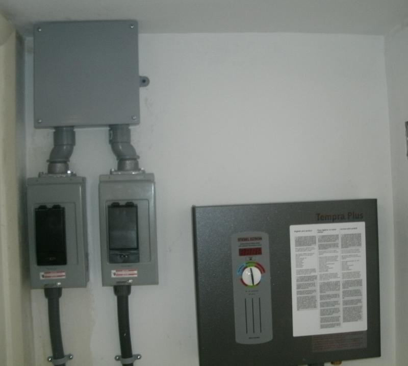 Special panel, panel upgrade for small instant hot, water heater.